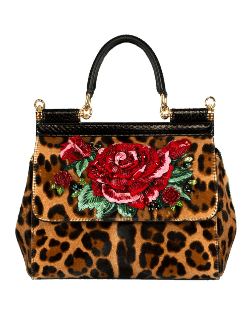 DOLCE & GABBANA HANDBAGTOP HANDLE LEOPARD Sicily Small Top Handle Floral Bag