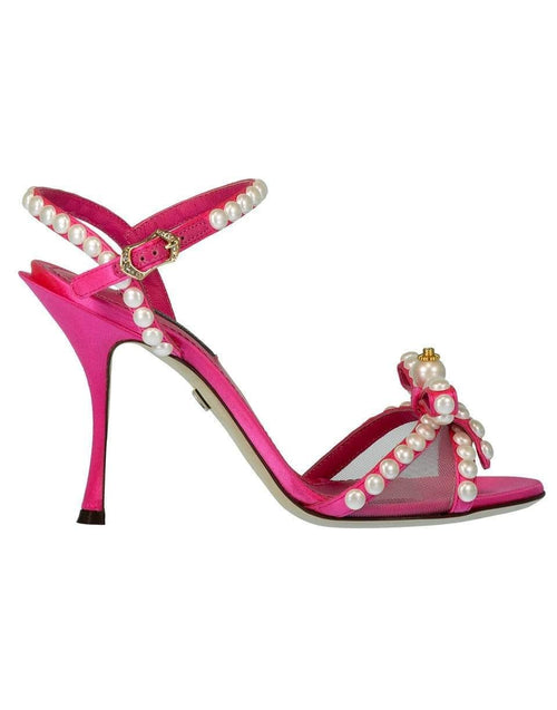 DOLCE & GABBANA SHOESANDAL Pearl and Crystal Embellished Bow Sandals