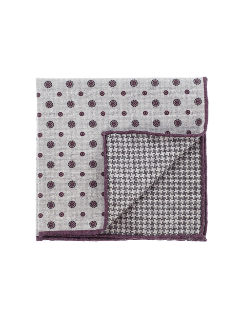 ELEVENTY MENSACCESSORYMISC GRY/BURG Pocket Square With Circles