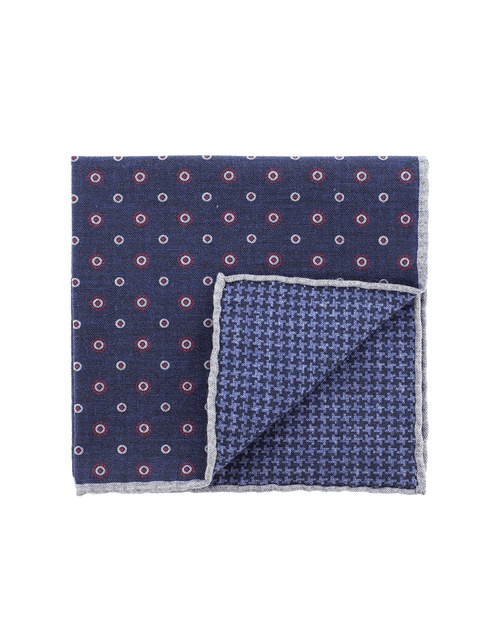 ELEVENTY MENSACCESSORYMISC NVY/RED Pocket Square With Circles