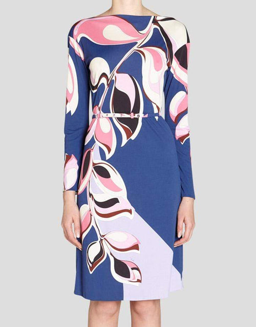 EMILIO PUCCI CLOTHINGDRESSCASUAL Belted Boatneck Print Dress