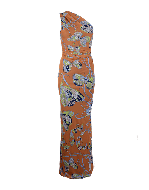 EMILIO PUCCI CLOTHINGDRESSEVENING One Shoulder Butterfly Print Long Dress
