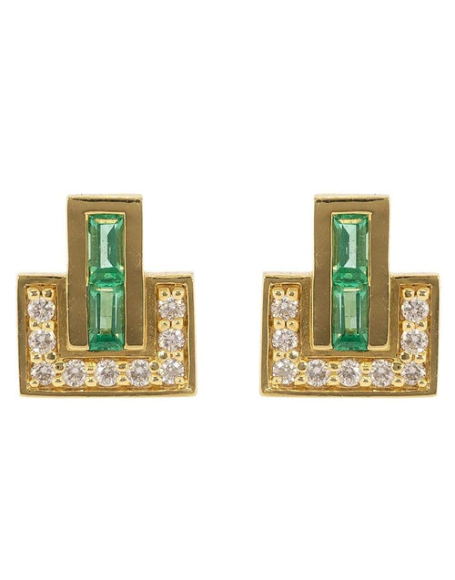 EMILY P WHEELER JEWELRYFINE JEWELEARRING YLWGOLD Emerald and Diamond Baguette Pave Studs