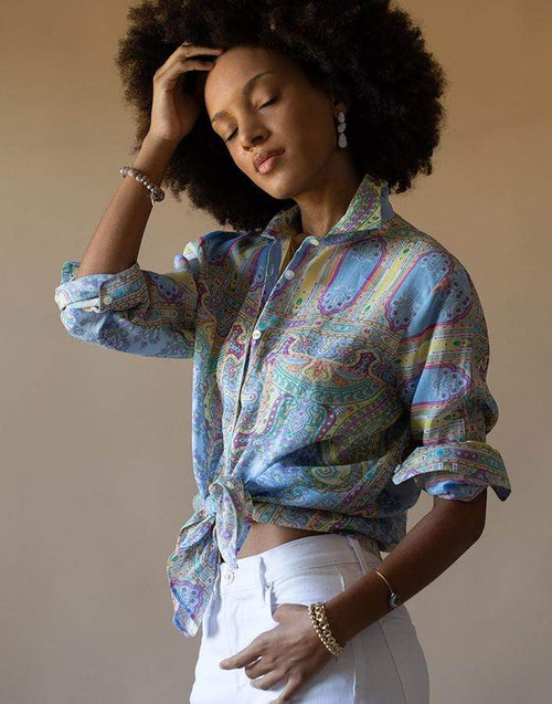 ETRO CLOTHINGTOPBLOUSE Light Blue Button Down Printed Blouse