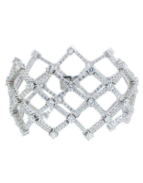 FANTASIA by DESERIO JEWELRYBOUTIQUEBRACELET O W V CZ Large Weave of Rounds Bracelet