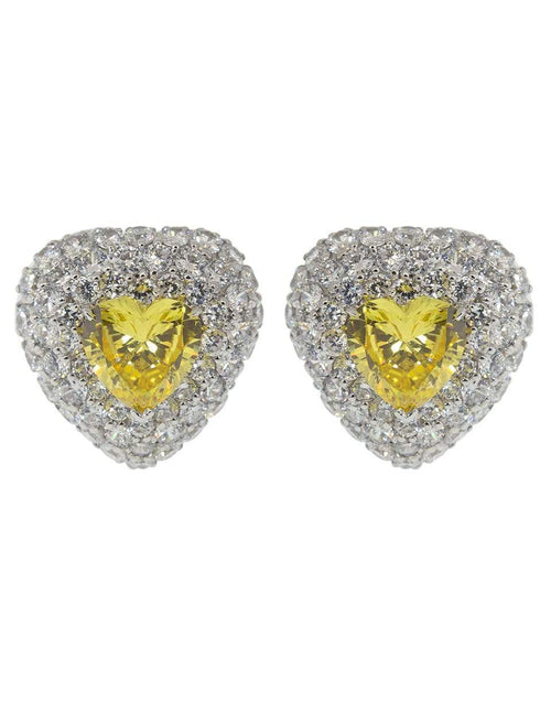 FANTASIA by DESERIO JEWELRYBOUTIQUEEARRING CAN/CZ Center Pave Heart Earrings