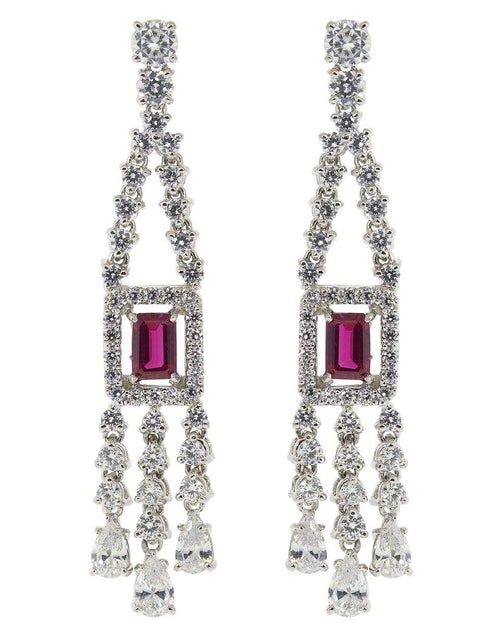 FANTASIA by DESERIO JEWELRYBOUTIQUEEARRING WVRUB/CZ Emerald Cut Drop Earrings
