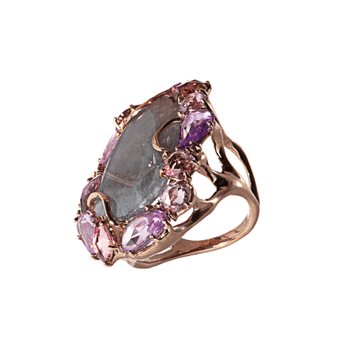 FEDERICA RETTORE JEWELRYFINE JEWELRING ROSE GLD Imperial Sliced Iolite and Pink Sapphire Ring
