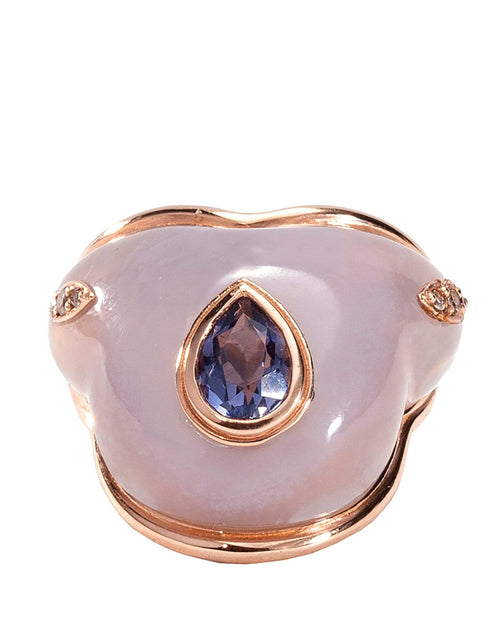 FERNANDO JORGE JEWELRYFINE JEWELRING ROSEGOLD / 6.75 Fluid Droplet on Chalcedony and Iolite Ring