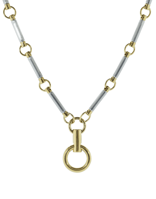 FOUNDRAE JEWELRYFINE JEWELNECKLACE O WHTGOLD White and Yellow Gold Element Clock Weight Chain