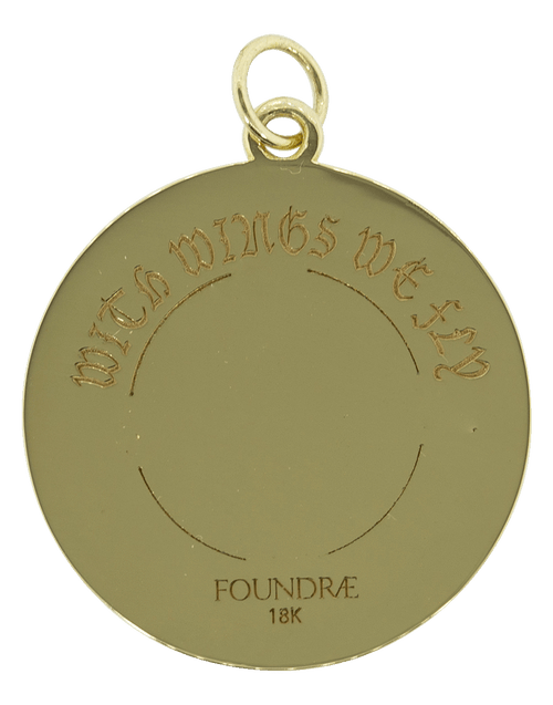 FOUNDRAE JEWELRYFINE JEWELPENDANT YLWGOLD Large Wings Wheel Medallion