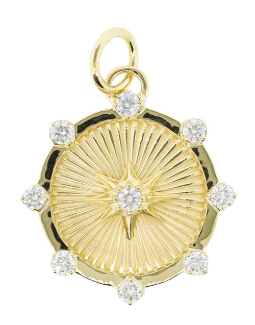 FOUNDRAE JEWELRYFINE JEWELPENDANT YLWGOLD True Love Diamond Spark Medallion Pendant