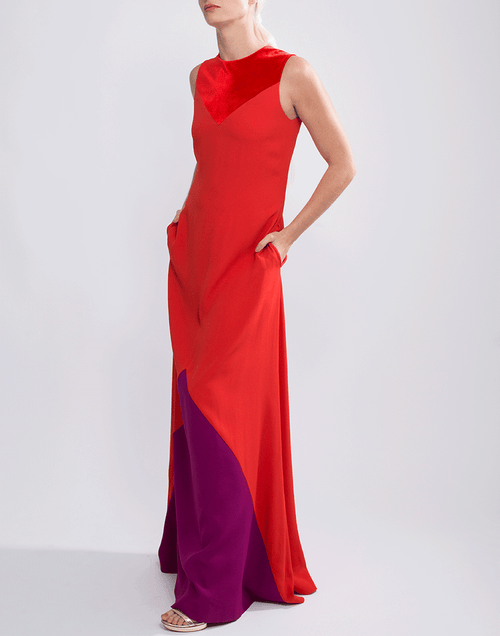 GIVENCHY CLOTHINGDRESSGOWN RED / 38 Bateau Neck Color Block Gown