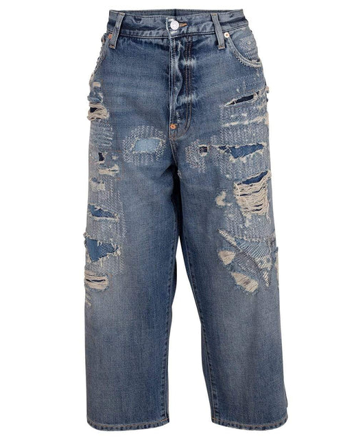 GIVENCHY CLOTHINGPANTDENIM MED BLUE / 32 Distressed Baggy Cropped Denim Pant