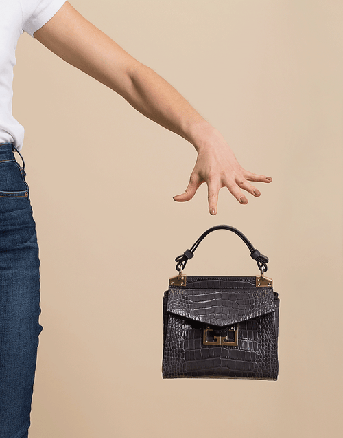 GIVENCHY HANDBAGTOP HANDLE GREY Grey Croco Mini Mystic Bag