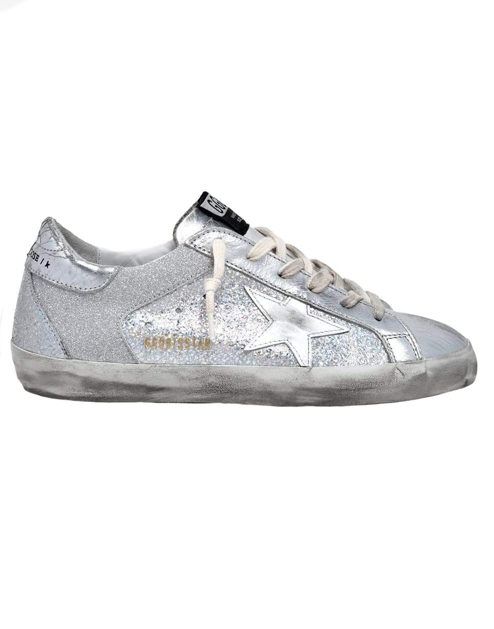 Image of Super-Star Iridescent Leather And Glitter Sneaker - Upper Leather Star Crack Heel Iridescent Spur