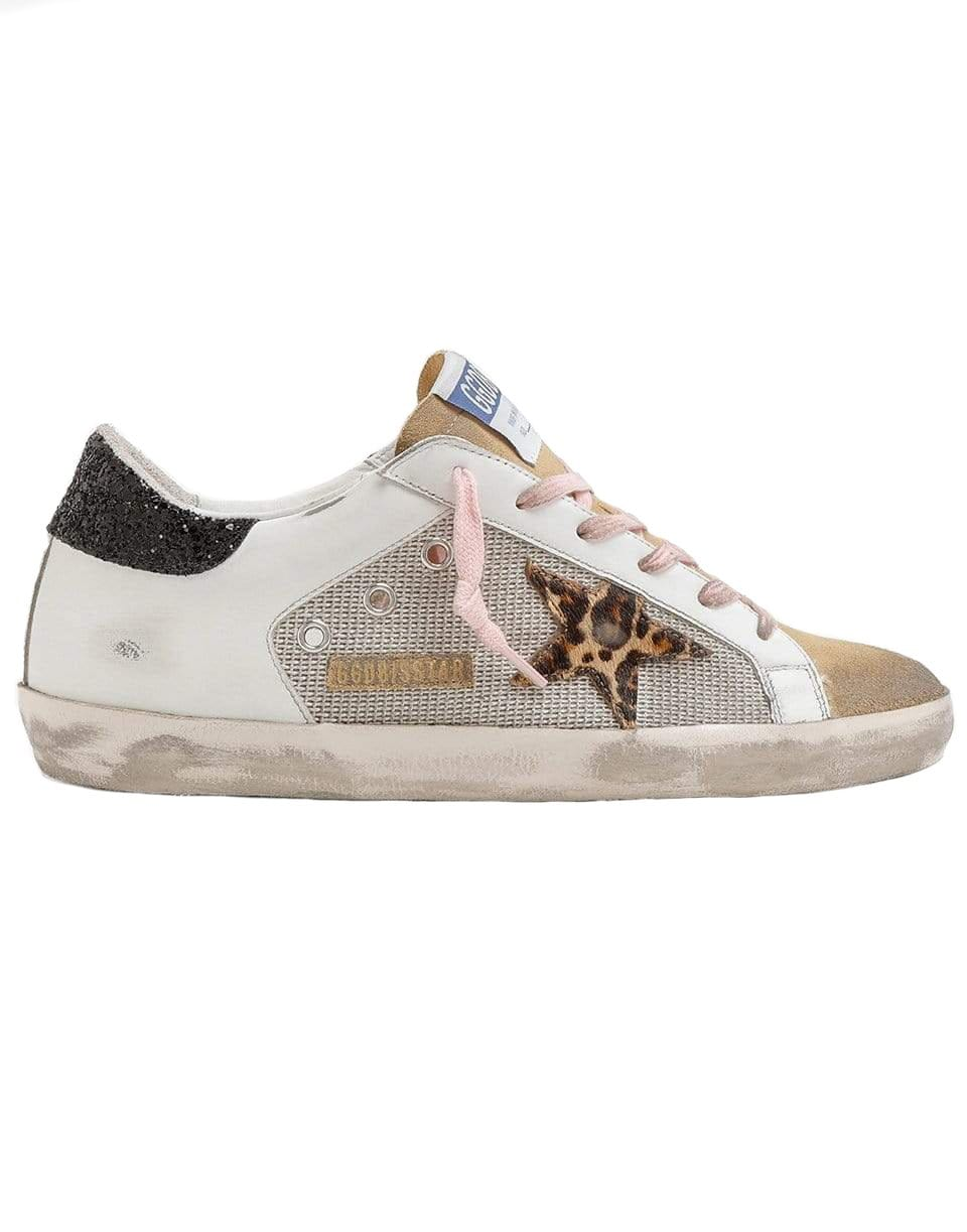 Image of Net Leather Suede Leopard Horsy Star with Glitter Super-Star Sneaker