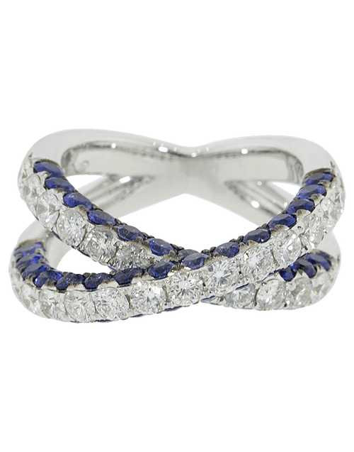 GRAZIELA JEWELRYFINE JEWELRING WHTGOLD / 6.75 Blue Sapphire and Diamond Ring