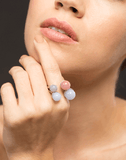 GUITA M JEWELRYFINE JEWELRING WHTGOLD / 5.75 Double Tip Moonstone and Rhodocrosite Ring