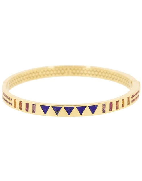 HARWELL GODFREY JEWELRYFINE JEWELBRACELET O YLWGOLD Triangle Lapis Inlay and Multi-Sapphire Baguette Bangle