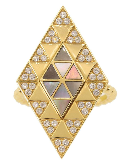 HARWELL GODFREY JEWELRYFINE JEWELRING YLWGOLD / 6 Mother of Pearl and Diamond Inlay Shield Ring