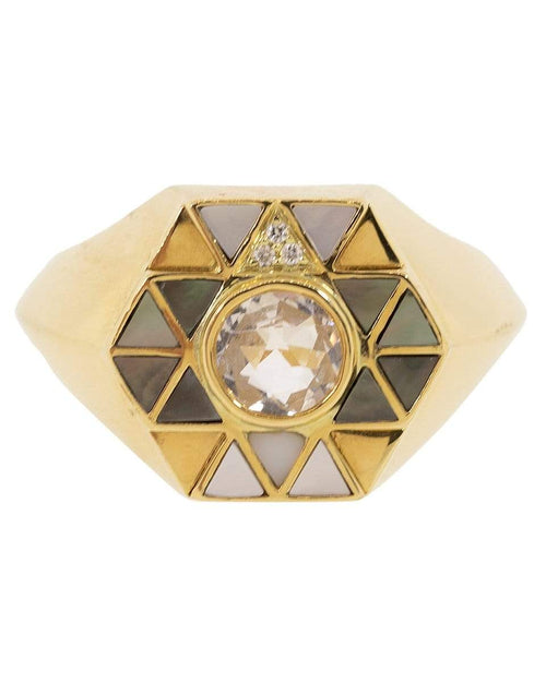HARWELL GODFREY JEWELRYFINE JEWELRING YLWGOLD / 6 Mother of Pearl and Rock Crystal Inlay Ring