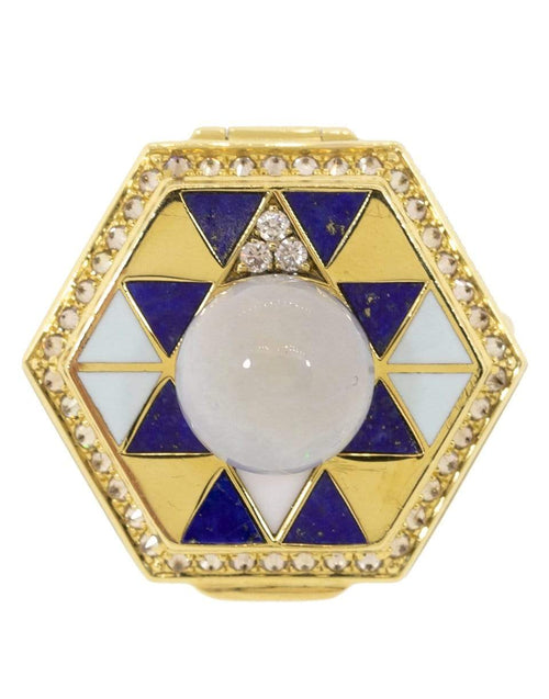 HARWELL GODFREY JEWELRYFINE JEWELRING YLWGOLD / 7 Pearl Top Lapis and Diamond Poison Ring