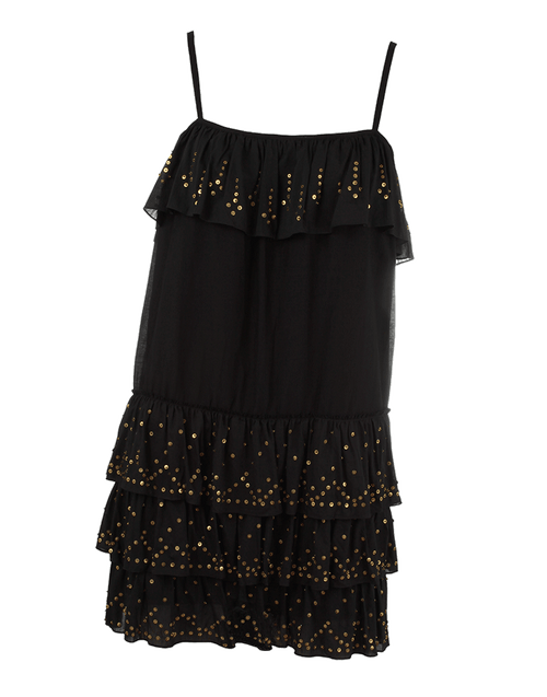HAUTE HIPPIE CLOTHINGDRESSCASUAL BLACK / XS Gold Speckled Tiered Dress