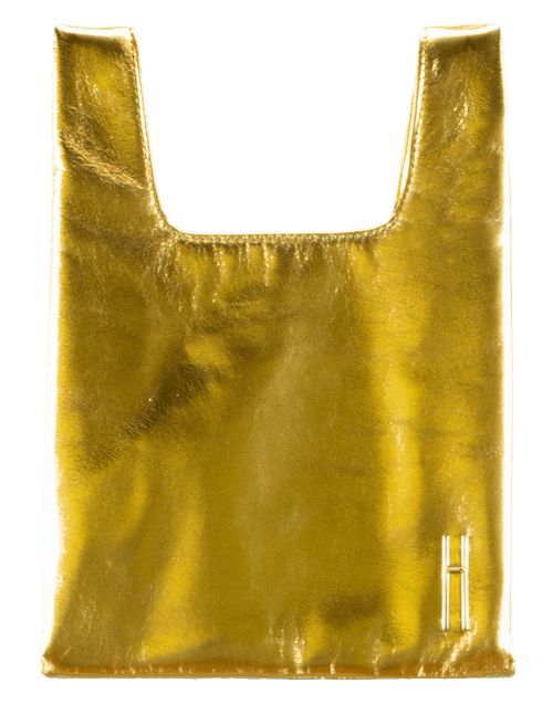 HAYWARD LUXURY HANDBAGTOP HANDLE GOLD Foiled Leather Mini Shopper
