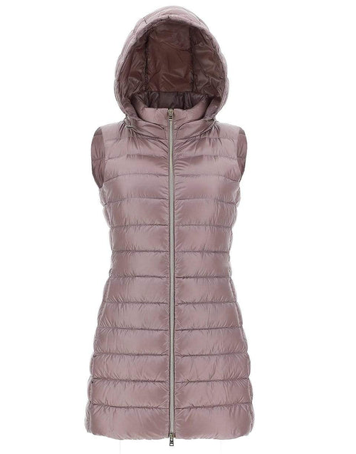 HERNO CLOTHINGJACKETVESTS Pink Lightweight Fitted Long Vest