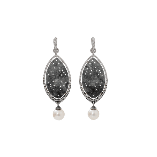 INBAR JEWELRYFINE JEWELEARRING WHTGOLD Carved Grey Jade And Pearl Earrings