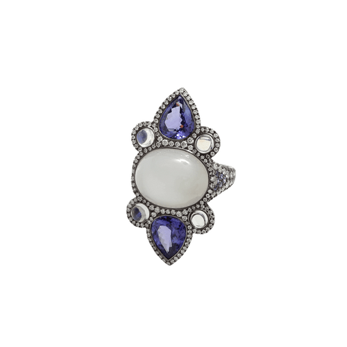 INBAR JEWELRYFINE JEWELRING BLKGOLD / 6.75 Moonstone And Tanzanite Ring