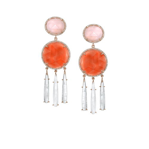 IRENE NEUWIRTH JEWELRY JEWELRYFINE JEWELEARRING ROSE GLD Diamond, Moonstone, and Opal Earrings