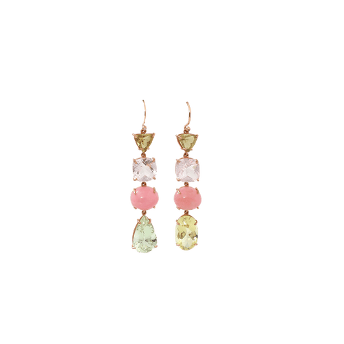 IRENE NEUWIRTH JEWELRY JEWELRYFINE JEWELEARRING ROSEGOLD Beryl And Pink Opal Earrings