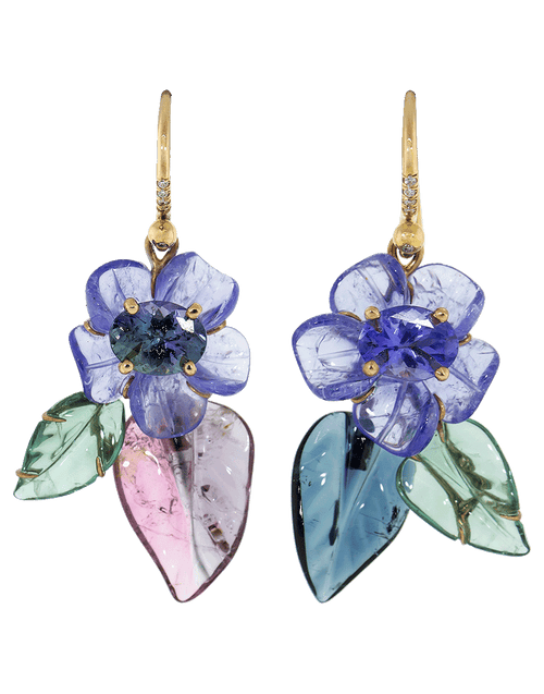 IRENE NEUWIRTH JEWELRY JEWELRYFINE JEWELEARRING ROSEGOLD Carved Tanzanite Flower Earrings