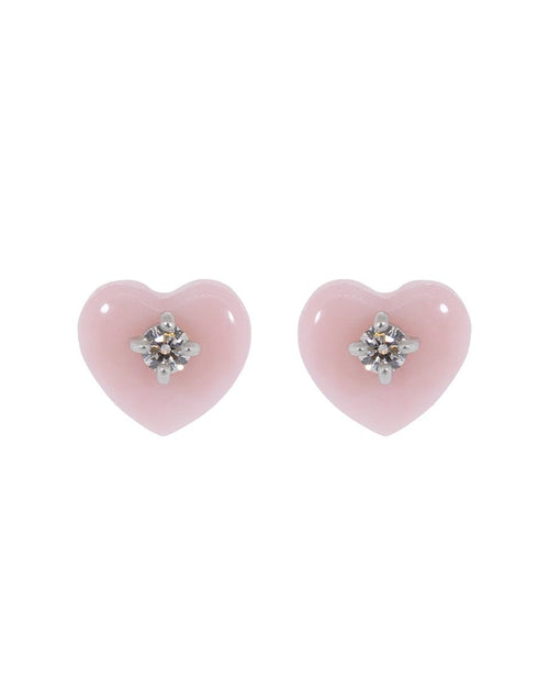 IRENE NEUWIRTH JEWELRY JEWELRYFINE JEWELEARRING ROSEGOLD Pink Opal and Diamond Heart Studs