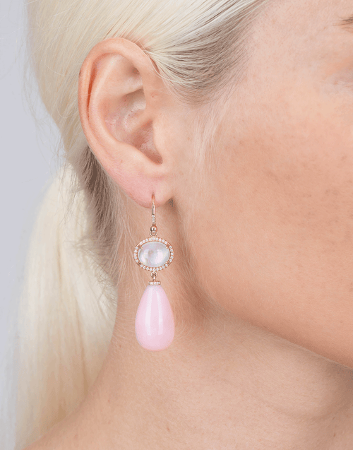 IRENE NEUWIRTH JEWELRY JEWELRYFINE JEWELEARRING ROSEGOLD Rainbow Moonstone And Pink Opal Drop Earrings