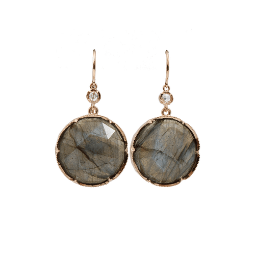 IRENE NEUWIRTH JEWELRY JEWELRYFINE JEWELEARRING ROSEGOLD Rose Cut Labradorite Earrings