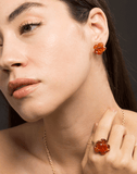 IRENE NEUWIRTH JEWELRY JEWELRYFINE JEWELEARRING YLWGOLD Fire Opal Mandarin Garnet Carved Flower Earrings