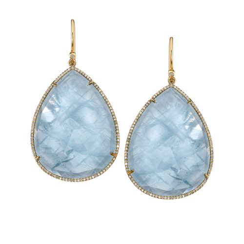 IRENE NEUWIRTH JEWELRY JEWELRYFINE JEWELEARRING YLWGOLD Yellow Gold, Aquamarine and Diamond Pave Earrings