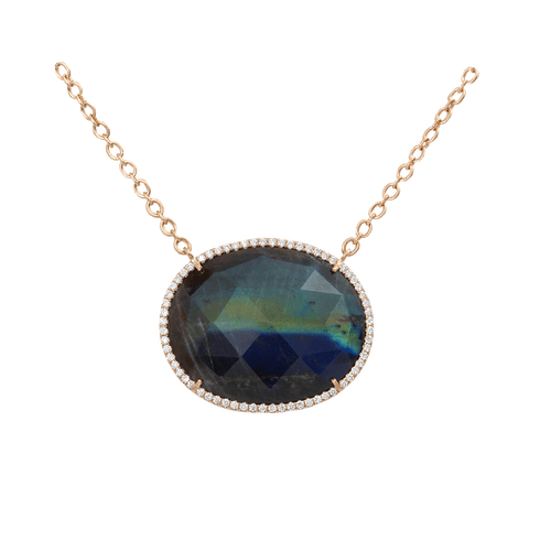IRENE NEUWIRTH JEWELRY JEWELRYFINE JEWELNECKLACE O ROSEGOLD Rose Cut Labradorite Necklace