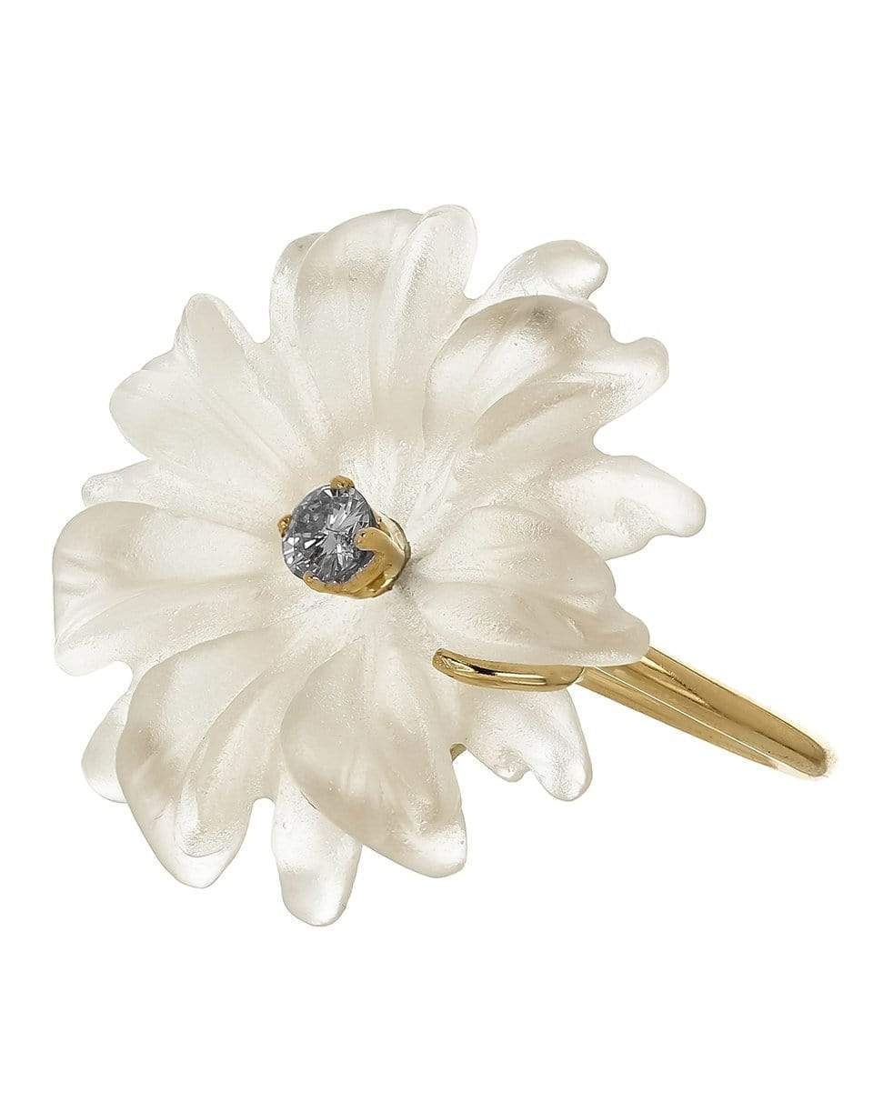 Image of Diamond & Carved Glass Flower Ring