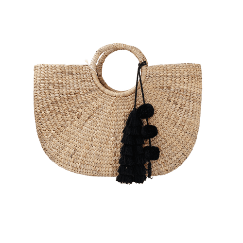 JADETRIBE HANDBAGTOTES BLACK Tassle Basket Bag