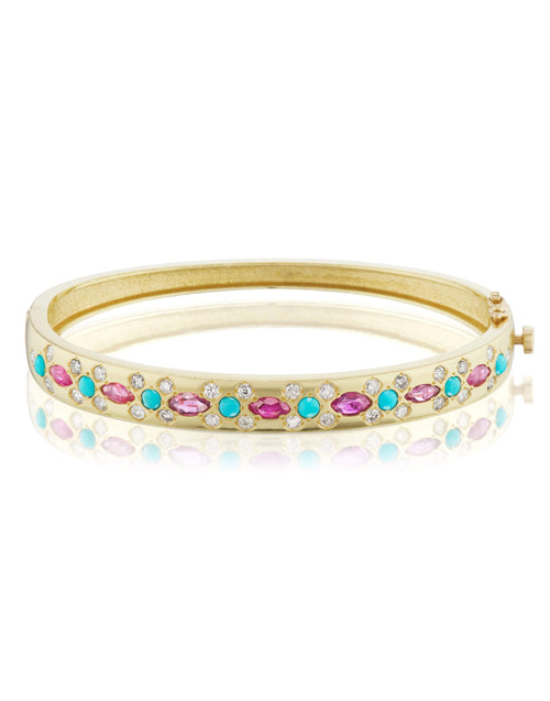 JENNA BLAKE JEWELRYFINE JEWELBRACELET O YLWGOLD Turquoise Ruby and Diamond Bangle