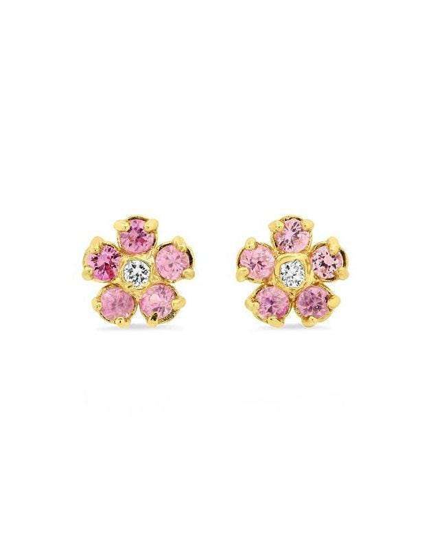 Image of Pink Sapphire Flower Studs with Diamond Center
