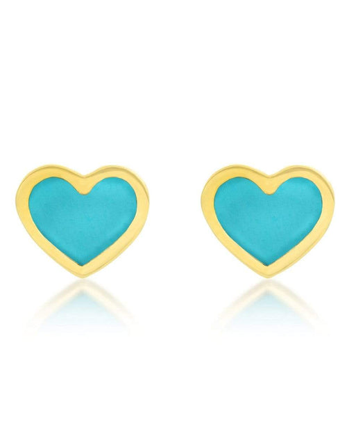 JENNIFER MEYER JEWELRYFINE JEWELEARRING YLWGOLD XS Turquoise Inlay Heart Studs