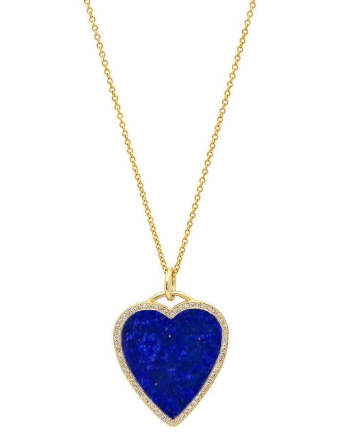 JENNIFER MEYER JEWELRYFINE JEWELNECKLACE O YLWGOLD Lapis Inlay Diamond Heart Necklace