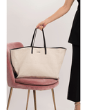 JIL SANDER HANDBAGTOTES NATURAL Linen Canvas Large Shopper