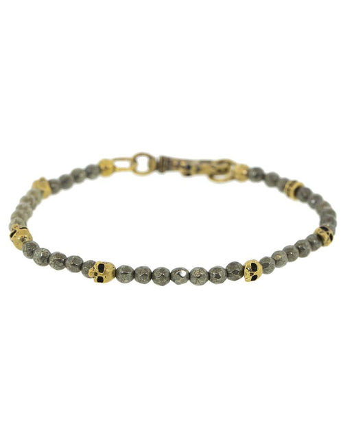 JOHN VARVATOS JEWELRYFINE JEWELBRACELET O BRASS Pyrite and Brass Skull Bead Bracelet