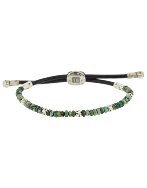JOHN VARVATOS JEWELRYFINE JEWELBRACELET O SILVER Adjustable Turquoise Sterling Silver and Leather Bead Bracelet